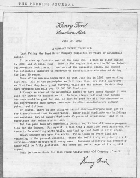 Primary document # 1 Henry Ford letter | Ford Motor Company in the 1920's | Scoop.it