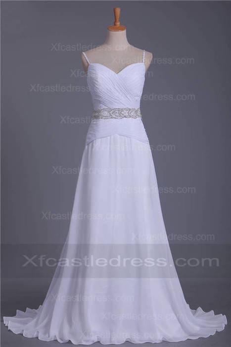 A Line Chiffon Beaded Pleated Wedding Dresses with Sweet Train WEXF07 | women fashion dresses | Scoop.it