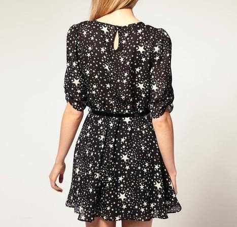 Fashionable Print Dresses Stars Pattern Stylish Chiffon Dress | women fashion accessories | Scoop.it