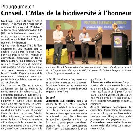 Plougoumelen - Conseil. L'Atlas de la biodiversité à l'honneur - Le télégramme de Brest - 22 septembre 2016 | Revue de presse Nova-Flore | Scoop.it