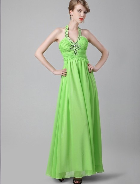 A Line Halter Floor Length Green Evening Dress Olc0078 | Fashion Dresses Online | Scoop.it