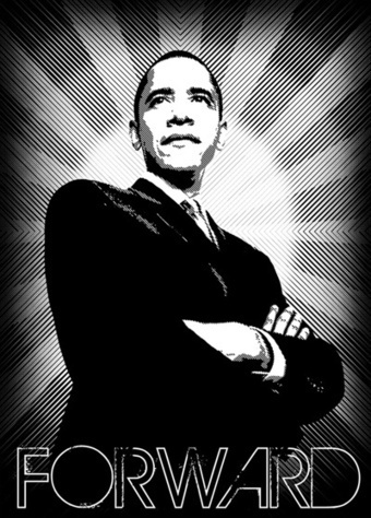"Barack Obama nous présente son slogan de campagne 2012: ""FORWARD"" 