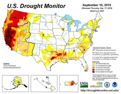 United States Drought Monitor > September 15, 2015 | Grain du Coteau : News ( corn maize ethanol DDG soybean soymeal wheat livestock beef pigs canadian dollar) | Scoop.it