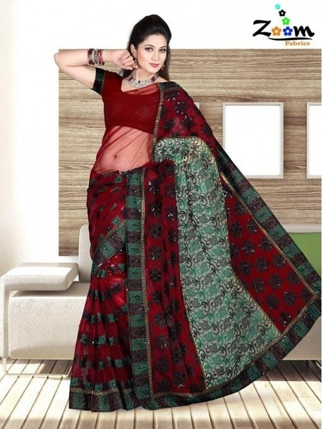 Zoom Maroon Embroidered Saree   Things I like   Scoop.it
