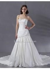 Strapless Modern Drop Waist Chapel Train Satin Ivory Wedding Dress B12006 for $807 | expensiven | Scoop.it