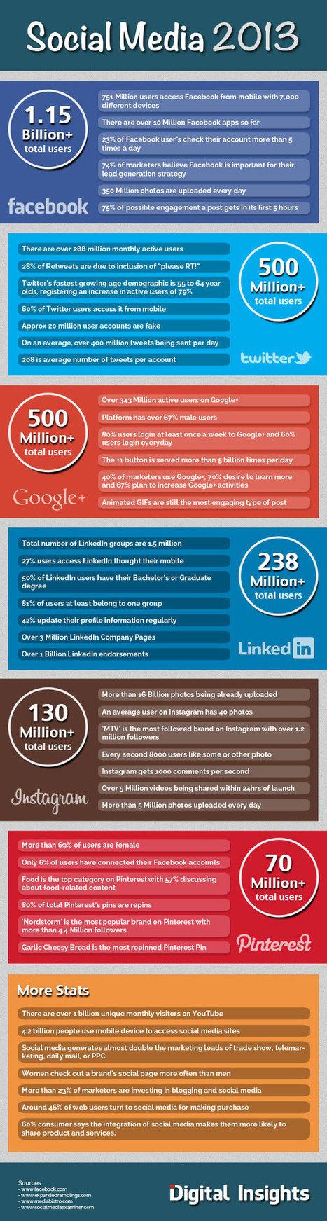 Réseaux sociaux en 2013 : Statistiques des utilisateurs | Infographie #SMO | SEM Search-Engine-Marketing | Scoop.it