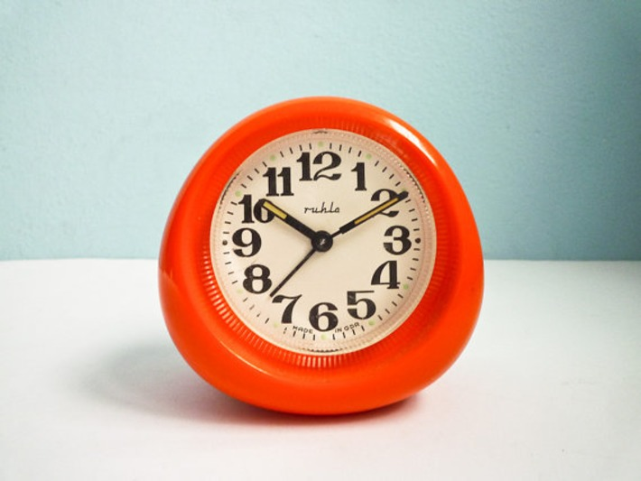 Vintage 70s Orange Alarm Clock Mechanical Wind Up by EuroVintage | Kitsch | Scoop.it