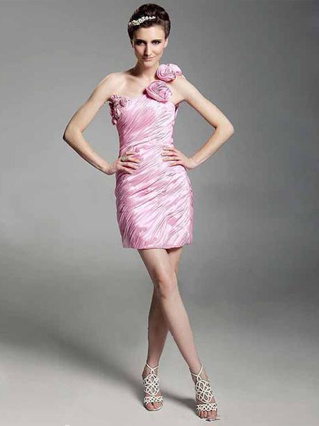 Sheath/Column One Shoulder Taffeta Short/Mini Sleeveless Flower(s) Evening Dresses at sweetquinceaneradress.com | SWEET 16 DRESSES | Scoop.it