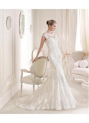 [239.99] Fabulous Tulle & Satin Illusion High Neckline Natural Waistline Mermaid Wedding Dress - Dressilyme.com | Wedding dresses | Scoop.it
