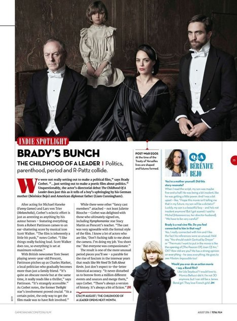 "Total Film mag: ""The film is inherently a little bit punk"" – Brady Corbet on The Childhood of a Leader 