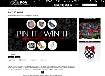 Saks entices holiday shoppers via Pinterest contest - Luxury Daily - Internet | Pinterest | Scoop.it