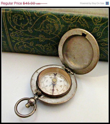 German Pocket Compass glass top working compass Steampunk pendant | serendipity treasures | Scoop.it