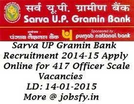 Sarva UP Gramin Bank Recruitment 2014-15 Apply Online for 417 Officer Scale Vacancies Through IBPS RRB's Score | Latest Job Alerts | Scoop.it