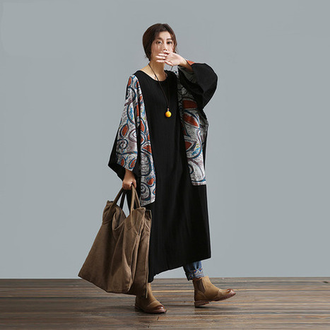 Patchwork black dress big yards long section of loose cotton dress  : Robe par ebuicakebs | Ladies Fashion | Scoop.it