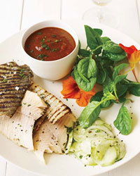 Grilled Trout with Smoky Tomatillo Sauce and Cucumber Salad Recipe   À Catanada na Cozinha Magazine   Scoop.it