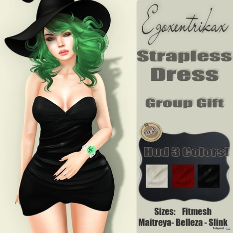 Strapless Dress Black Group Gift by Egoxentrikax | Teleport Hub - Second Life Freebies | Second Life Freebies | Scoop.it