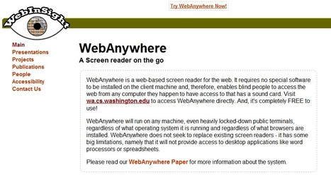 Web Anywhere is a non-visual interface, a screen reader | 21st Century Tools for Teaching-People and Learners | Scoop.it