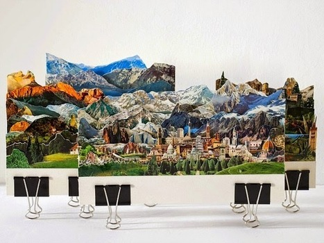 Beautiful Imaginary Landscapes Made from Cut Up Vintage Postcards | Junkculture | Art Installation | Scoop.it