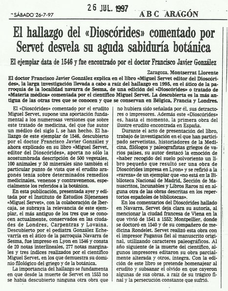 "ABC Aragon Diary- Article on  ""Michael Servetus, editor of the Dioscorides"", edited by the Michael Servetus Institute. 