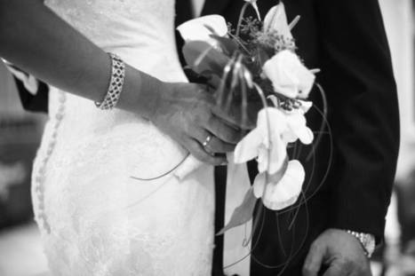 "Saatchi Art Artist: Edward Olive; Black & White 2007 Photography ""Bride and groom holding black and white wedding photograph"" 