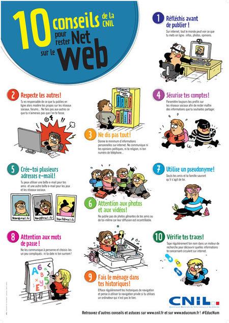 NetPublic » 10 conseils pour rester Net sur le Web : Nouvelle affiche gratuite illustrée de la CNIL | Nouvelles technologies éducation | Scoop.it