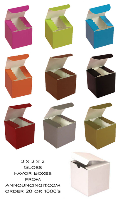 2x2x2 Gloss Favor Boxes in 10 colors for Perfect Party Favors - Enticing Entertaining | Party Favors | Scoop.it