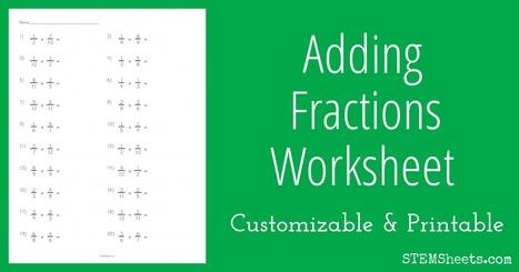 Adding Fractions Worksheet | STEM Sheets | Math Worksheets and Flash Cards | Scoop.it