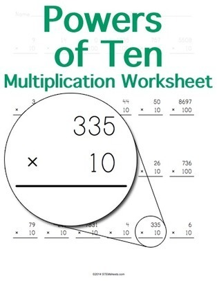 Powers of Ten Multiplication Worksheet Maker | Math Worksheets and Flash Cards | Scoop.it