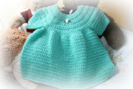 short sleeved baby crochet dress in pretty aspen green girls dresses clothes newborn 0 -3m etsy online shower gifts crochetyknitsnbits | Harley's bucket | Scoop.it