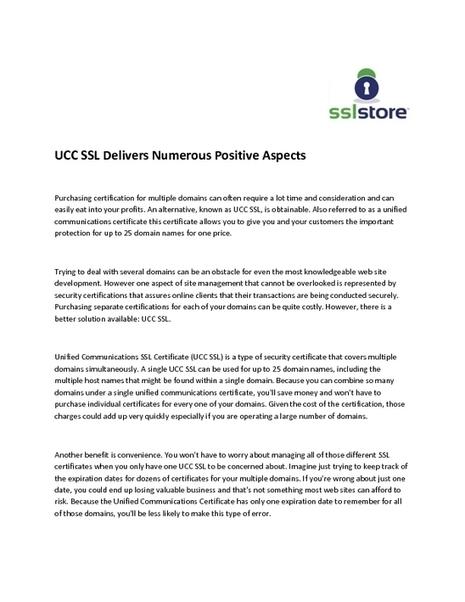 UCC SSL Delivers Numerous Positive Aspects | SSL Education | Scoop.it