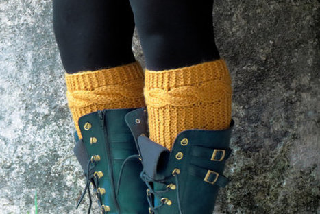 Knitted Boot Cuff Woman - Mustard Short Cable Knit Boot Cuff. Short Leg Warmers. Crochet Boot Cuffs. Knit Leg Warmers, Fall Boot Toppers, | Fashion Accessories... | Scoop.it