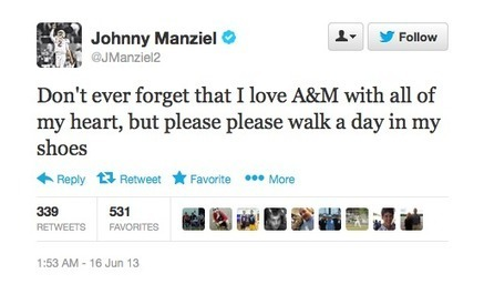 Johnny Manziel Tweeted That He Can't Wait to Leave Texas A&M | Sports Ethics | Scoop.it