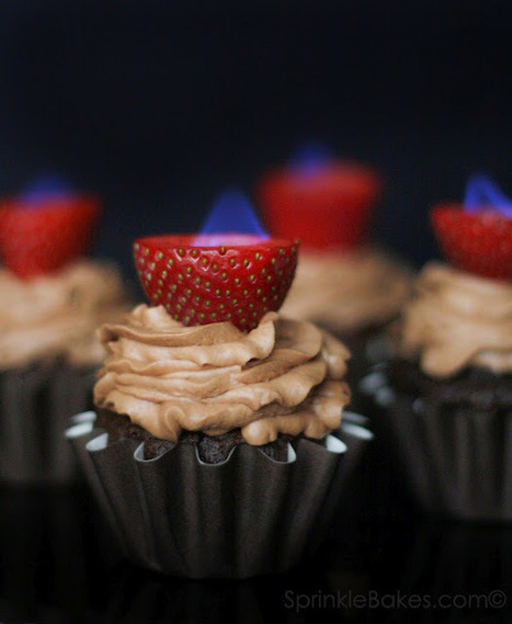 Chocolate Cupcakes with Flaming Strawberries | Delicious Desserts and Dessert Recipes | Scoop.it