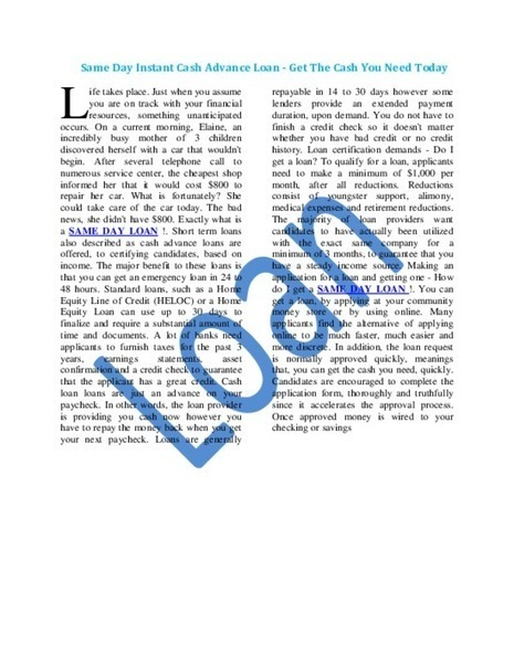 Same Day Loan - PDF | Loan | Scoop.it