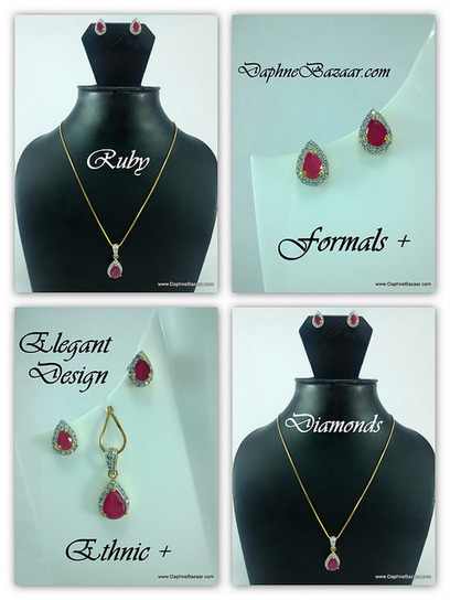 Ruby Diamonds Set Formals plus Ethnic | Ruby AD Pendant and Earrings | Scoop.it