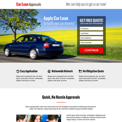 hassle free car loan approval lead capture converting responsive landing page design template | responsive landing pages | Scoop.it