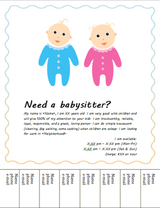 Free Babysitting flyers: templates and ideas | danielle's babysitting | Scoop.it