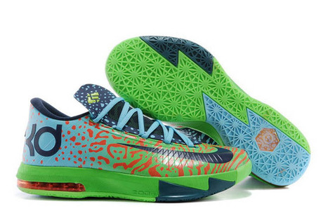 """Mens Nike KD VI """"Liger"""" Sneakers Colorway: Electric Green/Night Factor and Atomic Orange 
