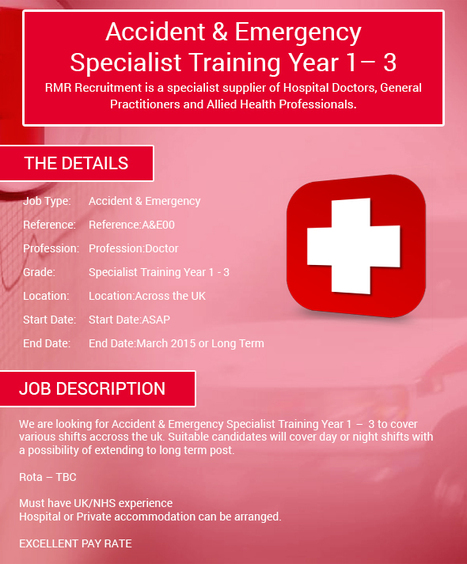 Accident & Emergency Specialist Training Year 1 – 3 | Medical locums | Scoop.it