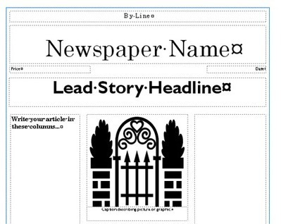 Printable newspaper templates from sparklebox for Microsoft kb article template