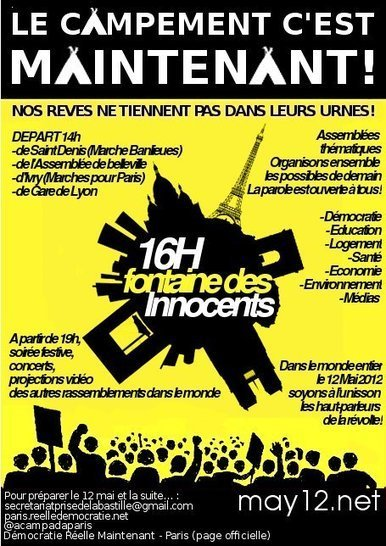 Le campement c'est MAINTENANT ! Fontaine innocents 14M #15M | Indigné(e)s de Dunkerque | Scoop.it
