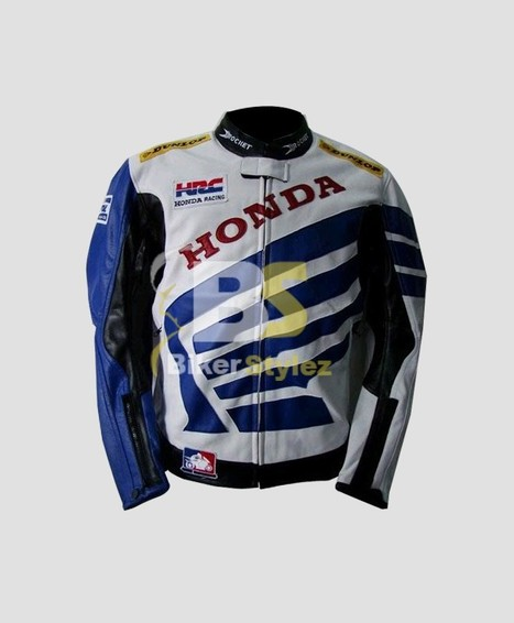 Honda Blue & White Eloquent HRC Motorcycle Jacket looks impressive.   Honda Motorcycle Jackets   Scoop.it