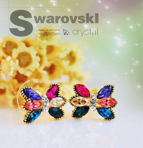 Bright Bow-shaped Swarovski Crystal Earrings As a Gift for Girlfriends - DearyBox | Jewellery On-line Boutique Shop | DearyBox.co.uk | Women's Earrings | Scoop.it