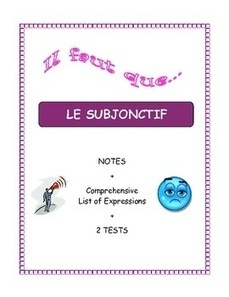French Grammar:  Subjunctive (Notes, 2 Tests, Answer Key) | French Resources to Download and Print | Scoop.it