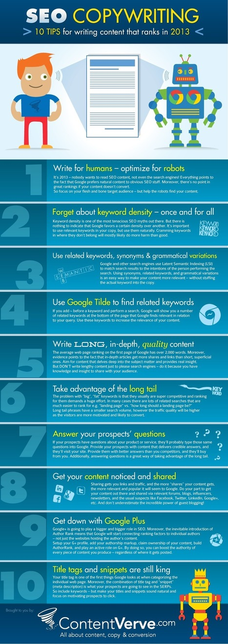 SEO Copywriting – 10 Tips for Writing Content that Ranks in 2013 (Infographic) | Copy Writer For Hyre | Scoop.it