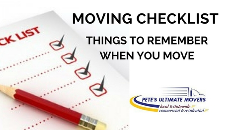 Moving Checklist - Things to Remember When You Move - Pete's Ultimate Movers | Petes Ultimate Movers | Scoop.it