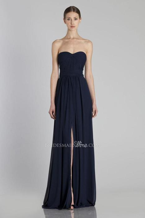 Navy Floor Length Front Slit Strapless Sweetheart Bridesmaid Dress | Woman Wedding Dresses | Scoop.it