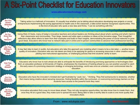 A Must Have Check List Poster for Innovative Teachers ~ Educational Technology and Mobile Learning | Elementary Special Education | Scoop.it