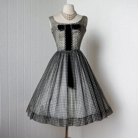vintage 1950's dress black & white organza GINGHAM full par traven7 | Vintage! | Scoop.it