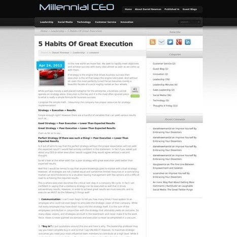 5 Habits Of Great Execution - Millennial CEO | future business trends | Scoop.it